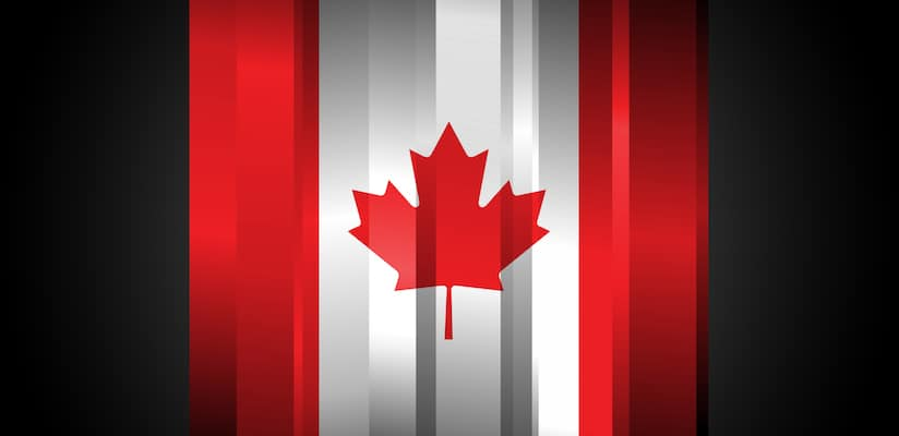 The Abstract Canada Flag on black background